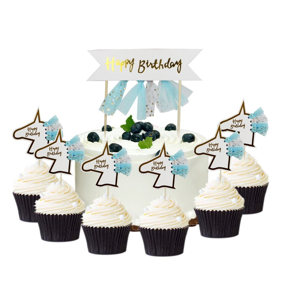 Baby Boy Unicorn Birthday Party Cake Cupcake Toppers Decoration