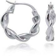Sterling Silver 2mm Ribbon Twist Round Hoop Earrings