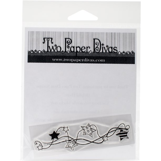 "Two Paper Divas Clear Stamps 6""X4.5""-String Of Stars"