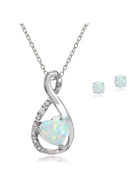Sterling Silver Simulated White Opal & Diamond Accent Infinity Heart Pendant Necklace & Stud Earrings Jewelry Set