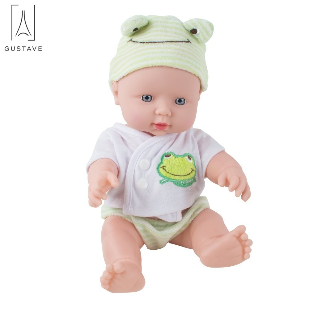 "GustaveDesign 12"" Silicone Vinyl Reborn Baby Girl Doll Handmade Baby Toddler Dolly Toy Gift ""Green"""