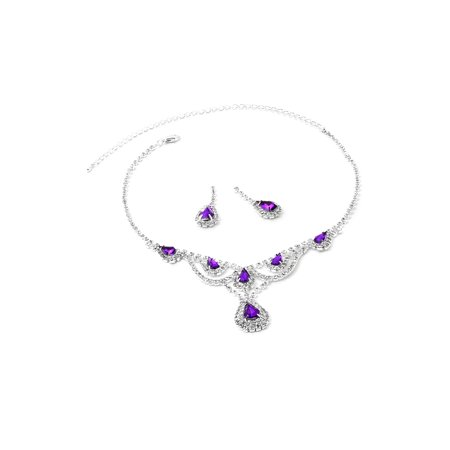 Silver Crystal Rhinestone with Large Amethyst Teardrop Centerpiece Necklace and Matching Dangle Earrings Jewelry Set