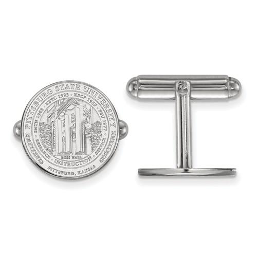 Sterling Silver LogoArt Official Licensed Collegiate Pittsburg State University (PSU) Crest Cuff Link
