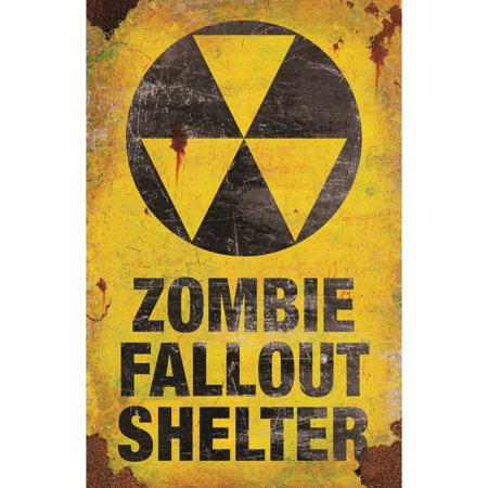 Zombie Fallout Shelter Metal Sign Halloween Decoration