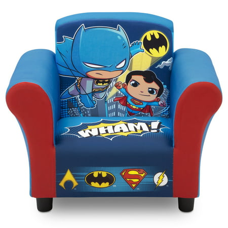 DC Super Friends (Superman, Batman, The Flash, Aquaman) Kids Upholstered Chair by Delta Children - Batman Chair