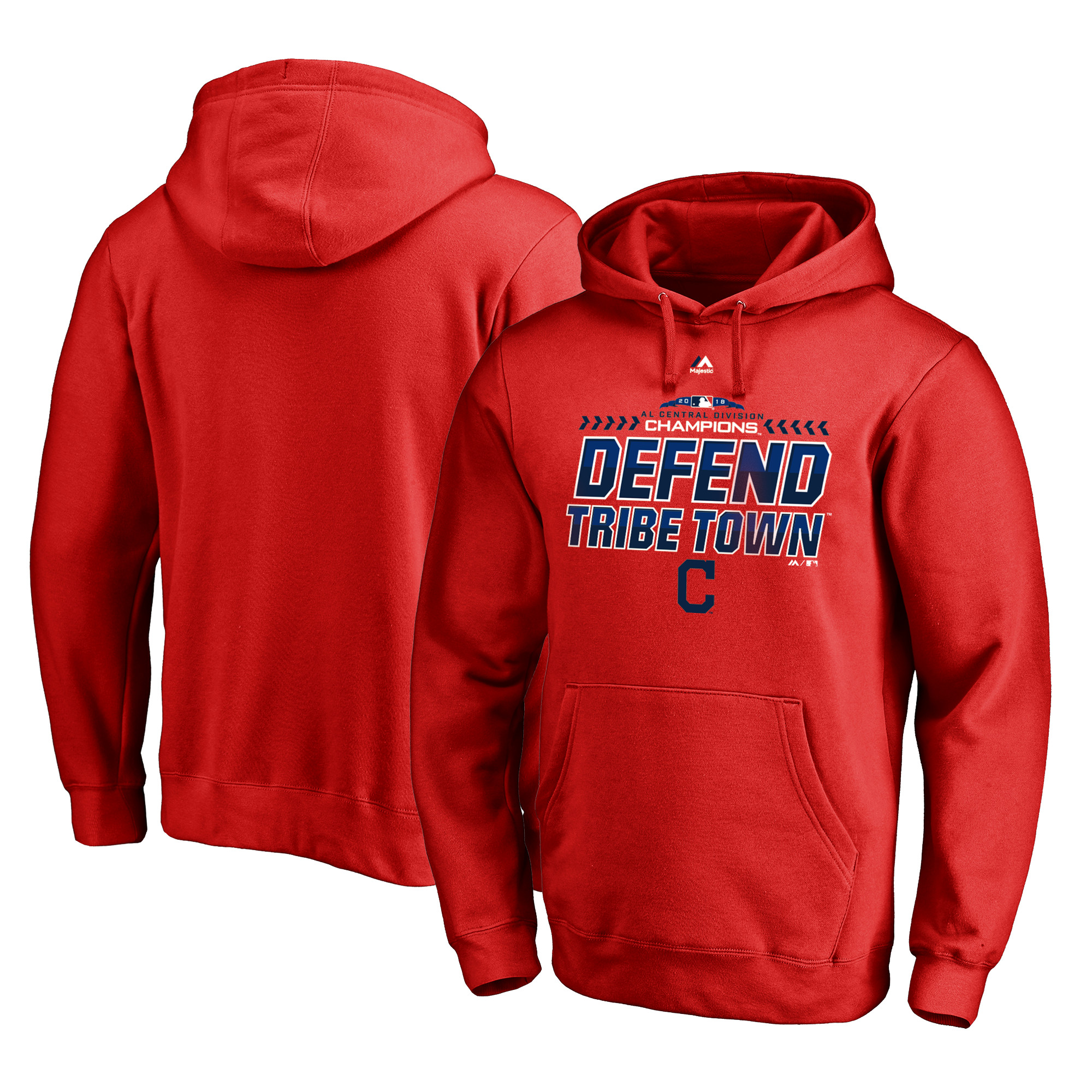 Cleveland Indians Majestic 2018 AL Central Division Champions Locker Room Defend Pullover Hoodie - Red