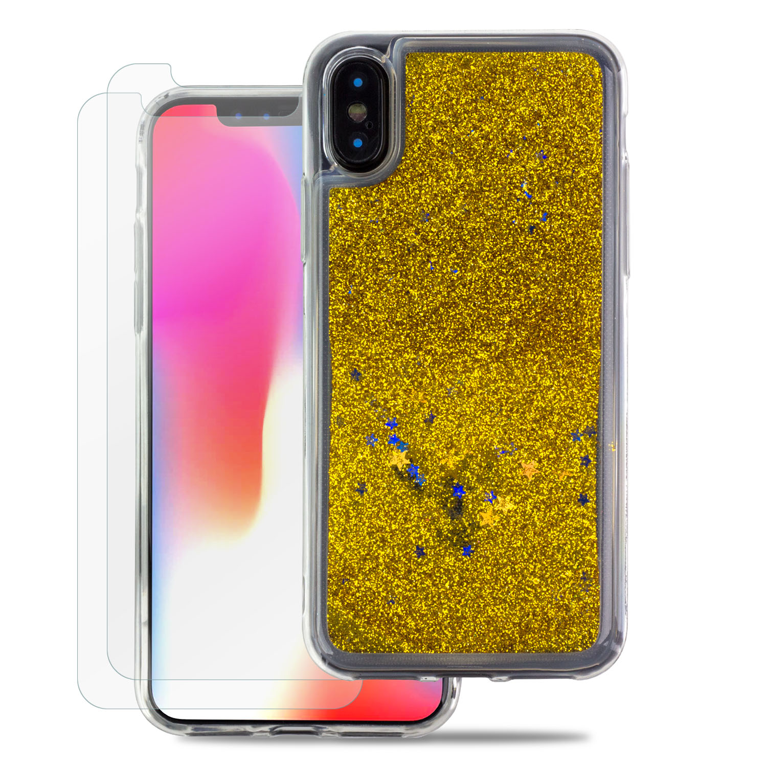 TortugaArmor Durable and Fully Covered iPhone X Case, Dazzling Luxury White Liquid Floating Sparkle Hard Phone Case with 2 Scratch Resistant Tempered Glass Screen Protector for iPhone X, iPhone 10