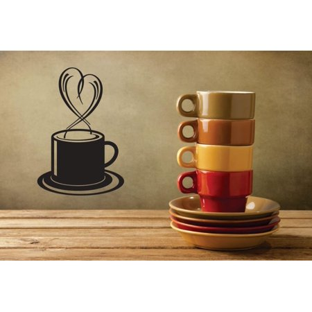 Do It Yourself Wall Decal Sticker Coffee Cup Heart Design Kitchen Stylish Mural 12x18