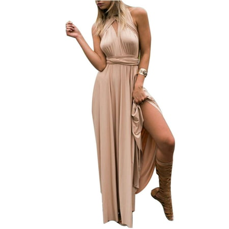 Women Evening Cocktail Long Maxi Formal Dress Ladies Wedding Bridesmaid Convertible Multi Way Wrap Party Prom Ball