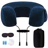Travel Pillow, Memory Foam Neck Pillow, with Ear Plugs, Eye Mask and Drawstring Bag for Airplane, Auto, Bus, Car, Train, Office Napping, Camping, Wheelchairs and Home