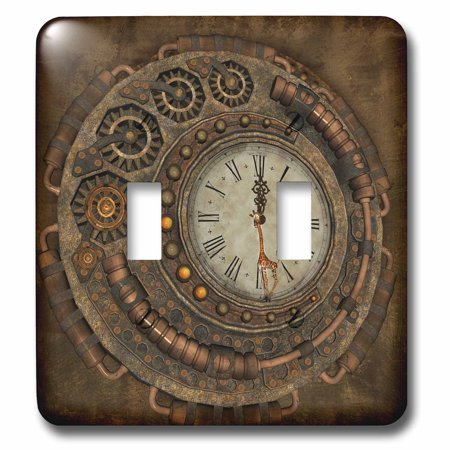 3dRose Steampunk awesome clock with cute giraffe Double Toggle Switch