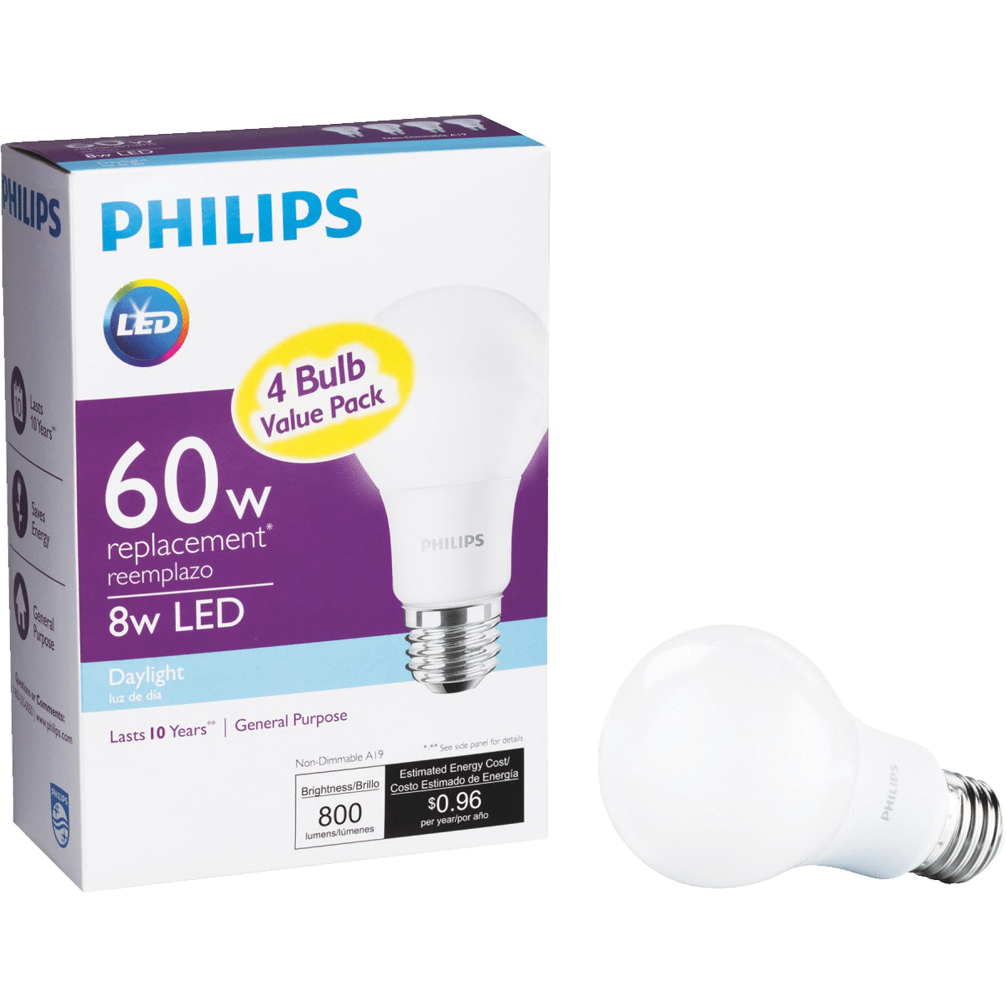 Philips LED Light Bulb, A19, Daylight, 60 WE, 4 Ct