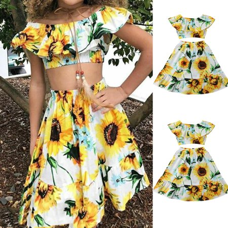 Flowers Kids Baby Girl Off Shoulder Crop Tops Skirt Dress Outfits Sets Clothes