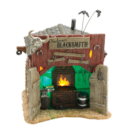 Dept 56 Halloween Village 4036593 Hackmanns Blacksmith Shop Retired