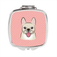Checkerboard Pink French Bulldog Compact Mirror, 2.75 x 3 x .3 In.