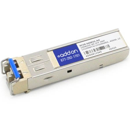 - AddOn - SFP (mini-GBIC) transceiver module (equivalent to: Ciena XCVR-040R55) - 100Mb LAN - 100Base-BX - LC single-mode - up to 24.9 miles - 1310 (TX) / 1550 (RX) nm