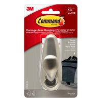 Command Metal Hook, Large, Brushed Nickel Finish, 1 Hook, 2 Strips