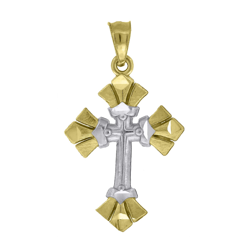 10kt Two-Tone Gold Womens Mens Unisex Cross Ht:26.2mm x W:14.8mm Religious Charm Pendant