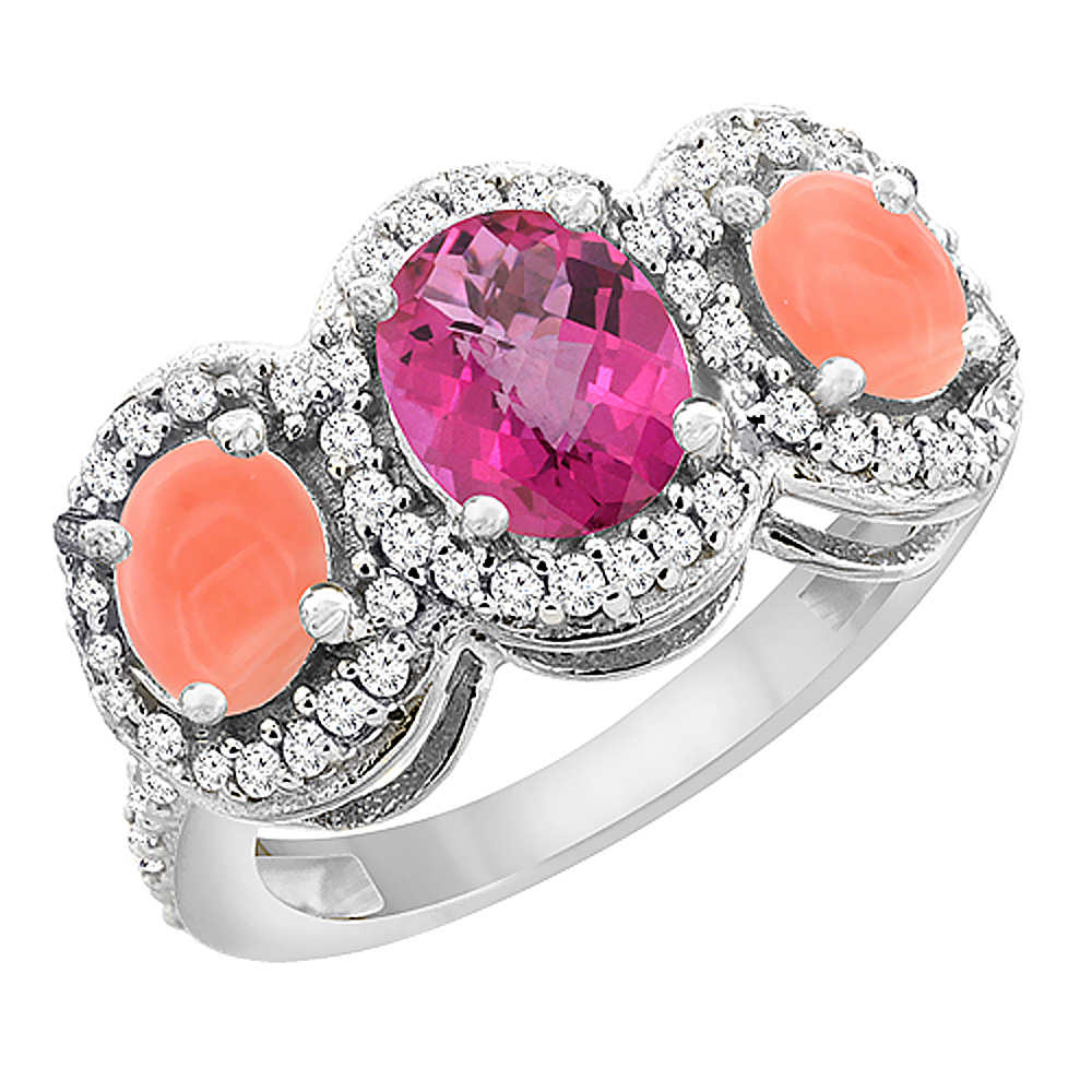 10K White Gold Natural Pink Sapphire & Coral 3-Stone Ring Oval Diamond Accent, size 5.5 by Gabriella Gold