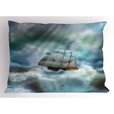 Ocean Pillow Sham Majestic Nautical Sealife and Pirate Boat Ship on a Wavy Deep Sea Art Print, Decorative Standard Queen Size Printed Pillowcase, 30 X 20 Inches, Blue Grey and - Cardboard Pirate Boat