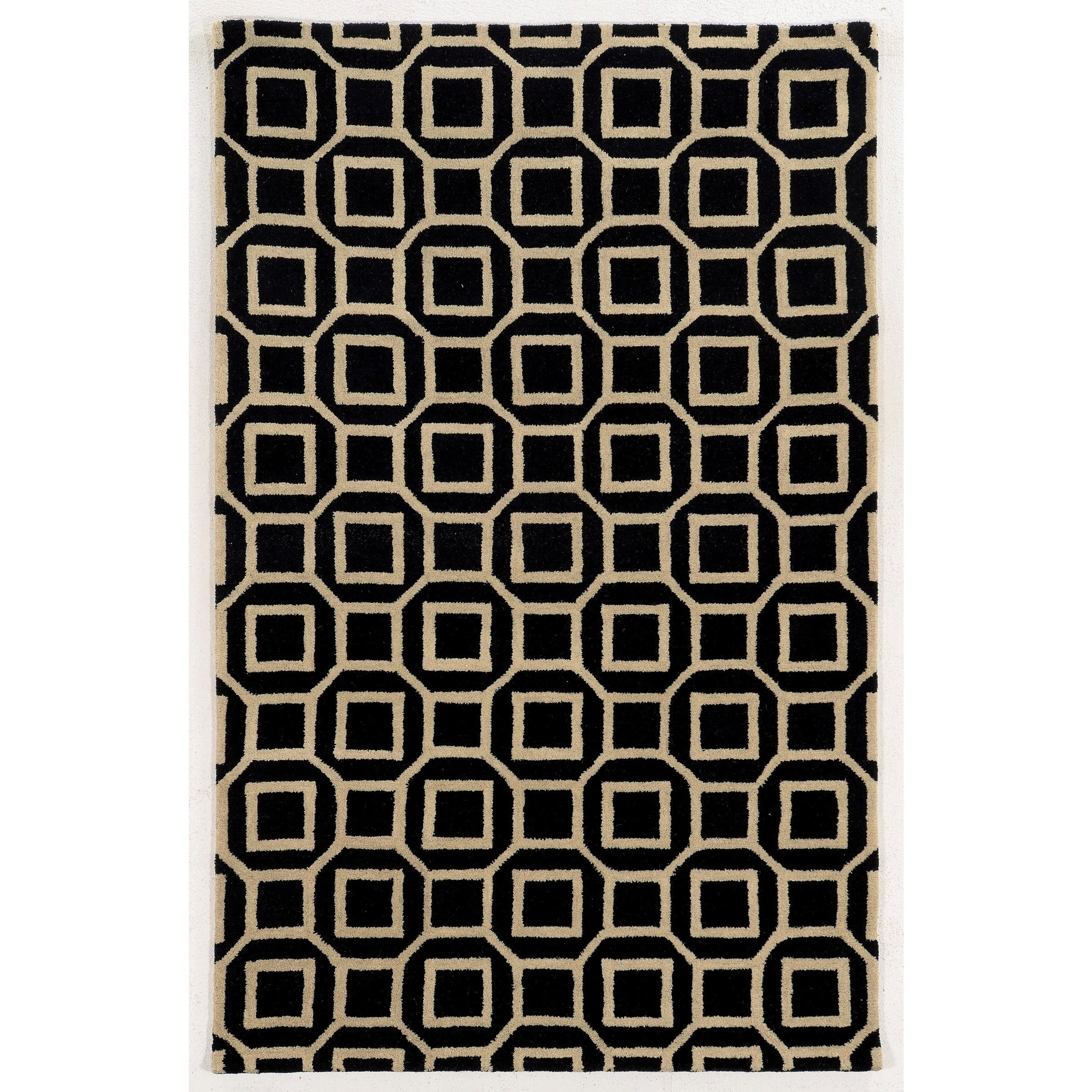 Rizzy Home  Ivory/ Black/ Gold/ Rust Julian Pointe Collection 100-percent Wool Hand-Hand-Tufted Accent Rug (8' x 10')