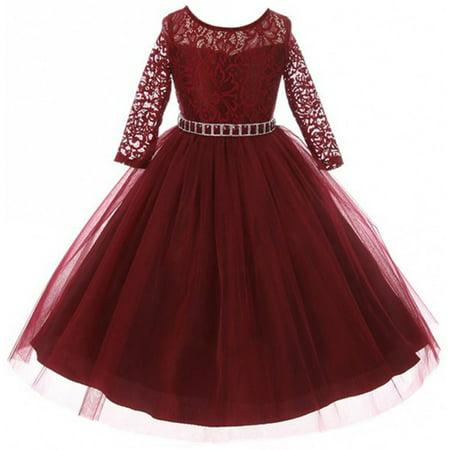 30edf68783f82 Big Girls' Dress Lace Top Rhinestones Tulle Holiday Christmas Party Flower  Girl Dress Burgundy Size 10 (M37BK2)