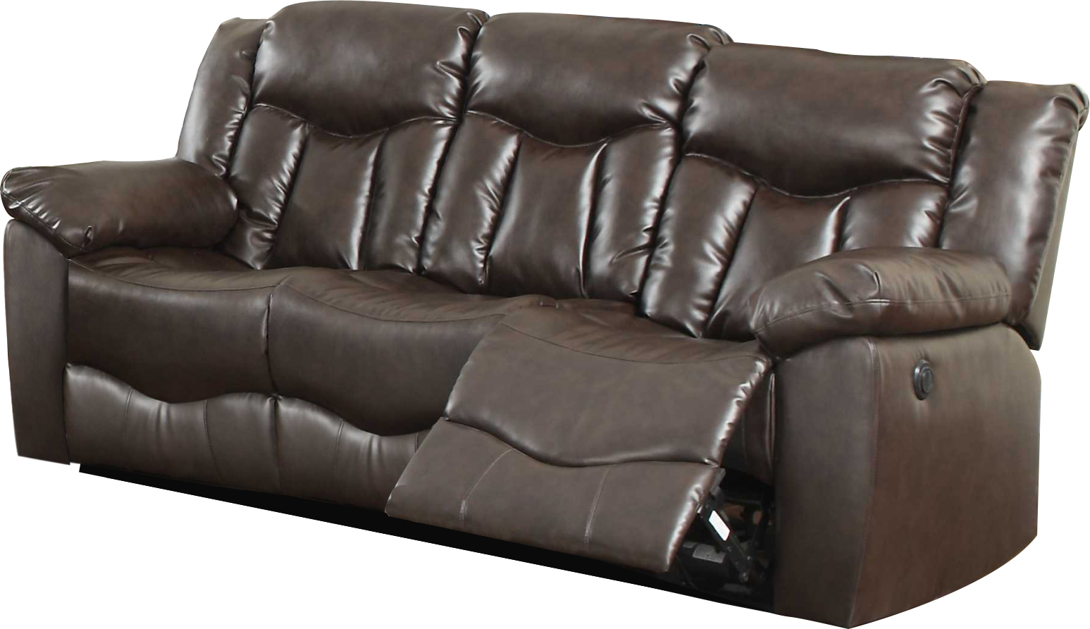 leonel signature james bonded leather motion sofa 2 reclining seats brown