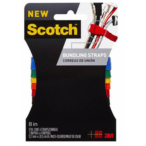 Scotch Bundling Strap, 0.5 in x 8 in, Assorted Colors, 6/Pack