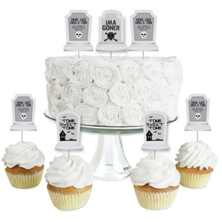 Halloween Party Desserts Treats (Graveyard Tombstones - Dessert Cupcake Toppers - Halloween Party Clear Treat Picks - Set of)