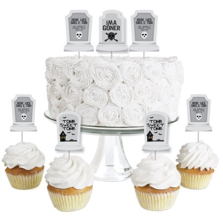 Graveyard Tombstones - Dessert Cupcake Toppers - Halloween Party Clear Treat Picks - Set of 24