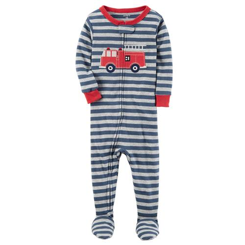 Carter's Boys 2T-4T Firetruck Footed Pajamas (Blue 4T)