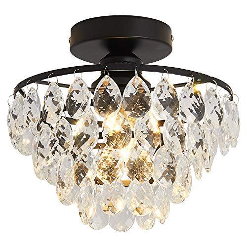 Yyjlx Crystal Ceiling Light Fixture, Semi Flush Mount Chandeliers
