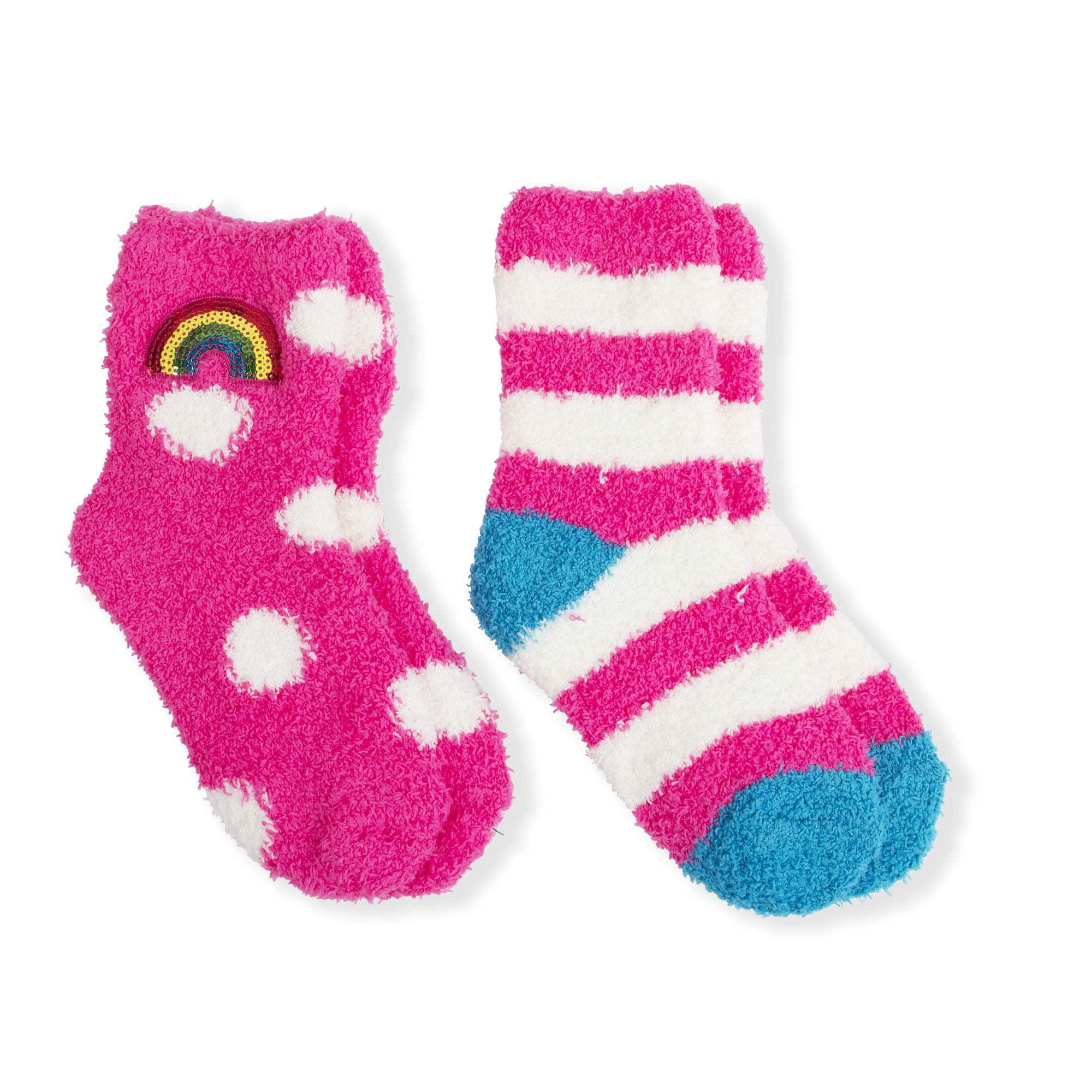 Faded Glory Girls' Rainbow Crew Socks, 2 Pairs