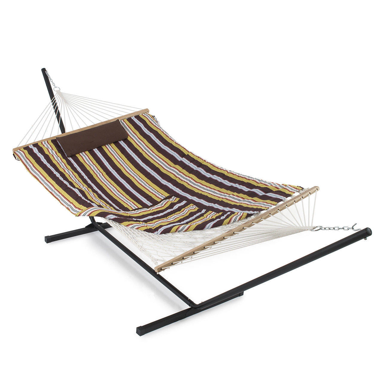 "GHP Desert Stripes 142""L×52""W×46.5""H Hammock Stand with Stand Pad and Pillow"