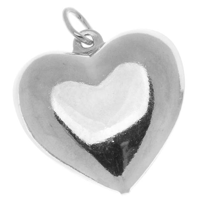 Silver Plated Puff Heart Charms 17mm (6)