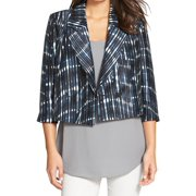 Classiques Entier NEW Blue Womens XS Cropped Shantung Silk Jacket