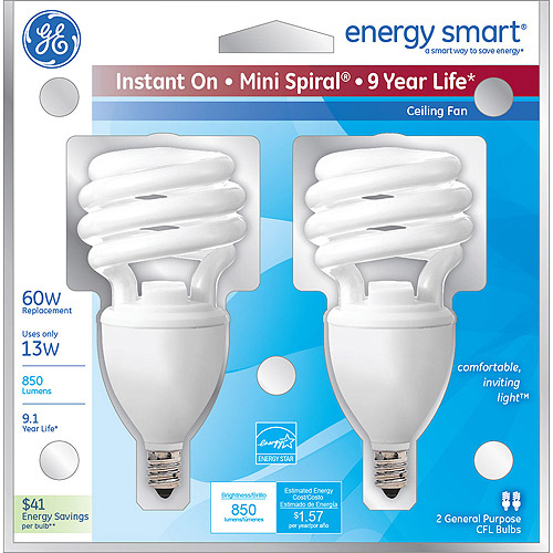 GE energy smart spiral CFL 13 watt T2 spiral 2-pack