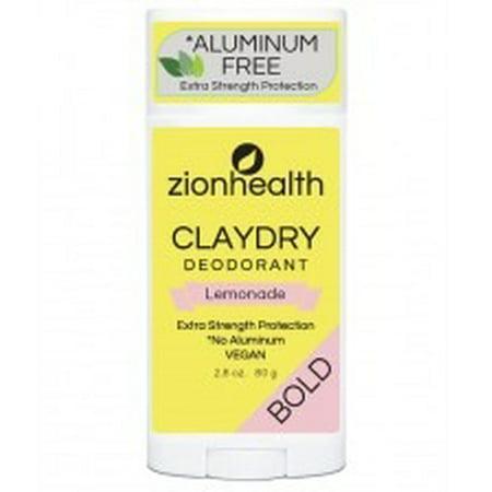 Clay Dry Bold Lemonade Deodorant Zion Health 2.8  oz Stick Clay Dry Deodorant