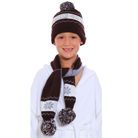 Children's Knitted Pom Pom Beanie & Scarf Set, Snowflake -