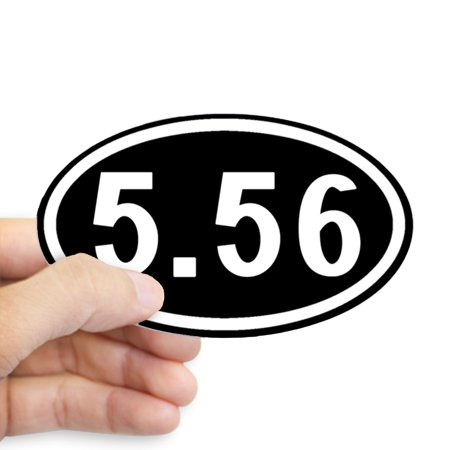 CafePress - 5.56 Ammo: Oval (Black & White) - Sticker