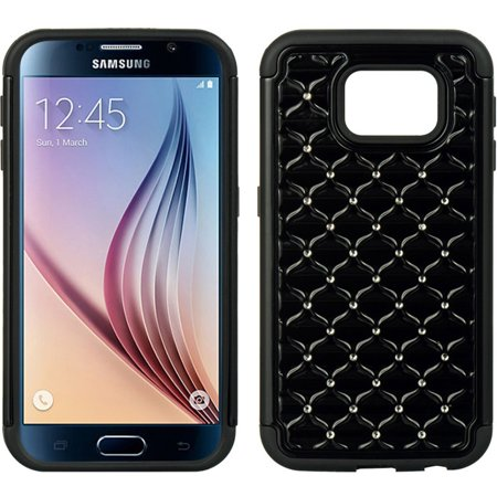 Samsung Galaxy S6 Case, by Insten Fish Scale Dual Layer [Shock Absorbing] Hybrid Hard Plastic/Soft TPU Rubber Case Cover With Diamond For Samsung Galaxy S6