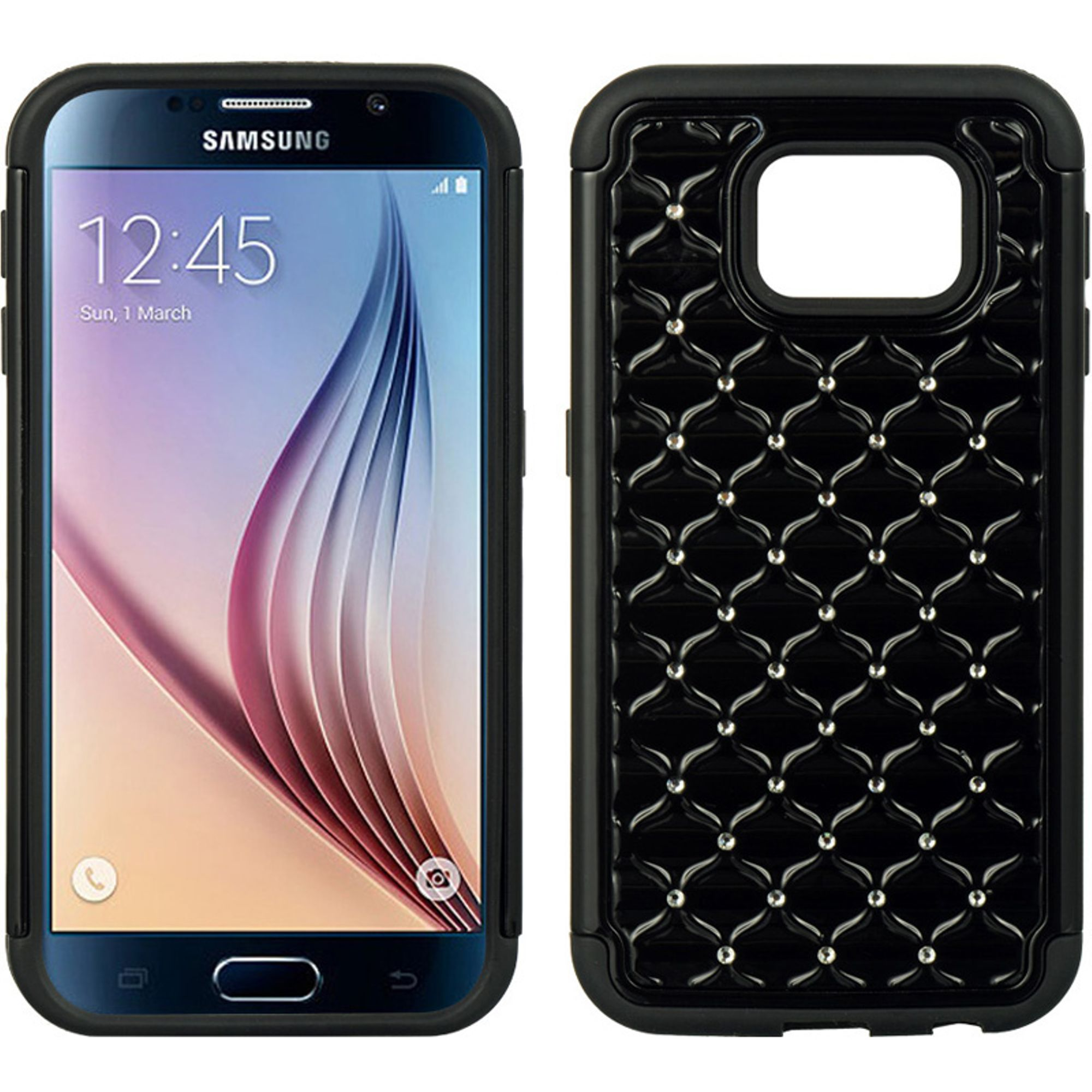 Samsung Galaxy S6 Case, by Insten Fish Scale Dual Layer [Shock Absorbing] Hybrid Hard Plastic/Soft TPU Rubber Case Cover With Diamond For Samsung Galaxy S6 SM-G920