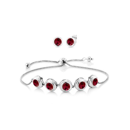 7.00 Ct Round 6mm Red Created Ruby 925 Sterling Silver Bracelet Earrings Set