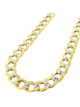 """14K Yellow Gold 9.5mm Hollow Cuban Curb Link Diamond Cut Pave Chain Necklace 24"""" - 28"""""""