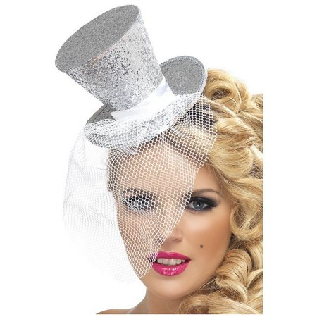 Mini Top Hat Adult Costume Accessory Silver