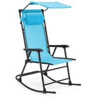 Best Choice Products Outdoor Folding Mesh Zero Gravity Rocking Chair w/ Attachable Sunshade Canopy and Headrest, Blue