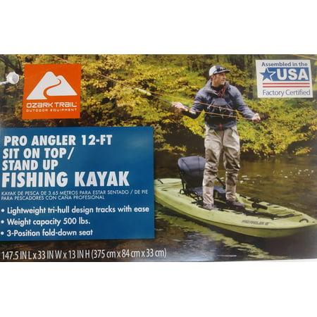 Ozark Trail 12 Pro Angler Kayak, Grass Camo with Paddle