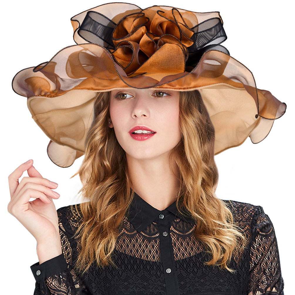 Womens Organza Sunhat-Vbiger Vintage Kentucky Derby Organza Floral Ruffles Wide Large Brim Tea Party Wedding Sun Hat Beach Sunbonnet