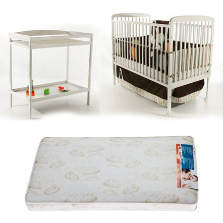 Dream On Me Anna 2-in-1 Full Size Crib with Changing Table and BONUS Mattress Bundle (Portable Crib With Changing Table)