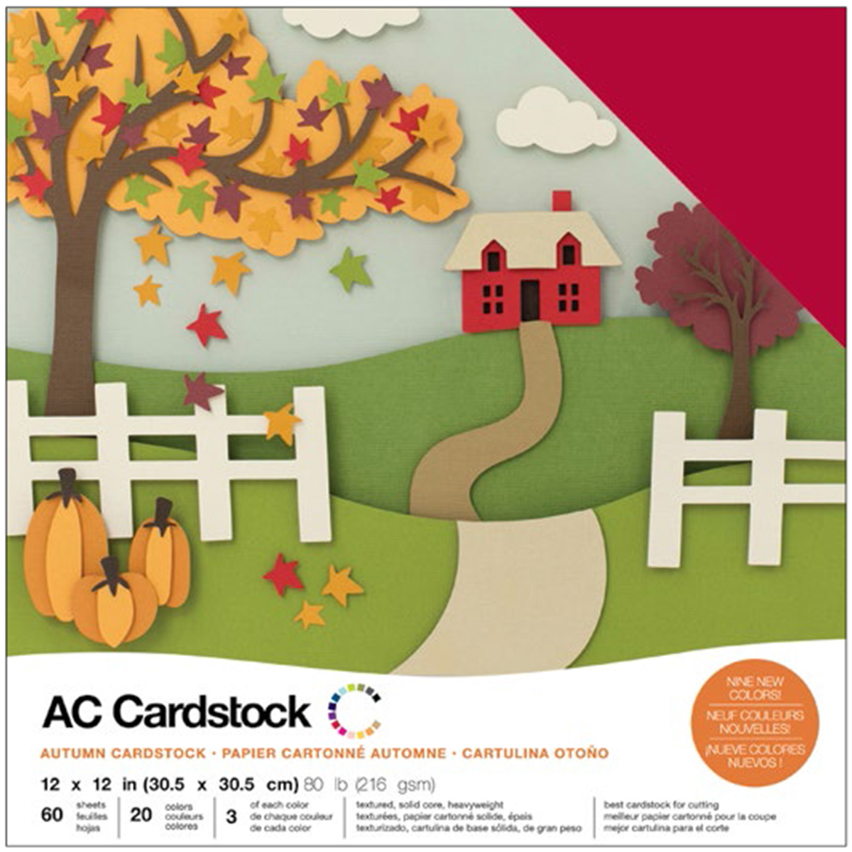 """American Crafts Variety Cardstock Pack 12"""" x 12"""" 60/Pkg - Autumn"""